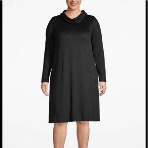 Cozy touch cowl neck swing dress in 22w 24w black